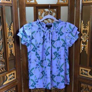 Liz Claiborne Floral Ruffle Sleeve Top Size SP